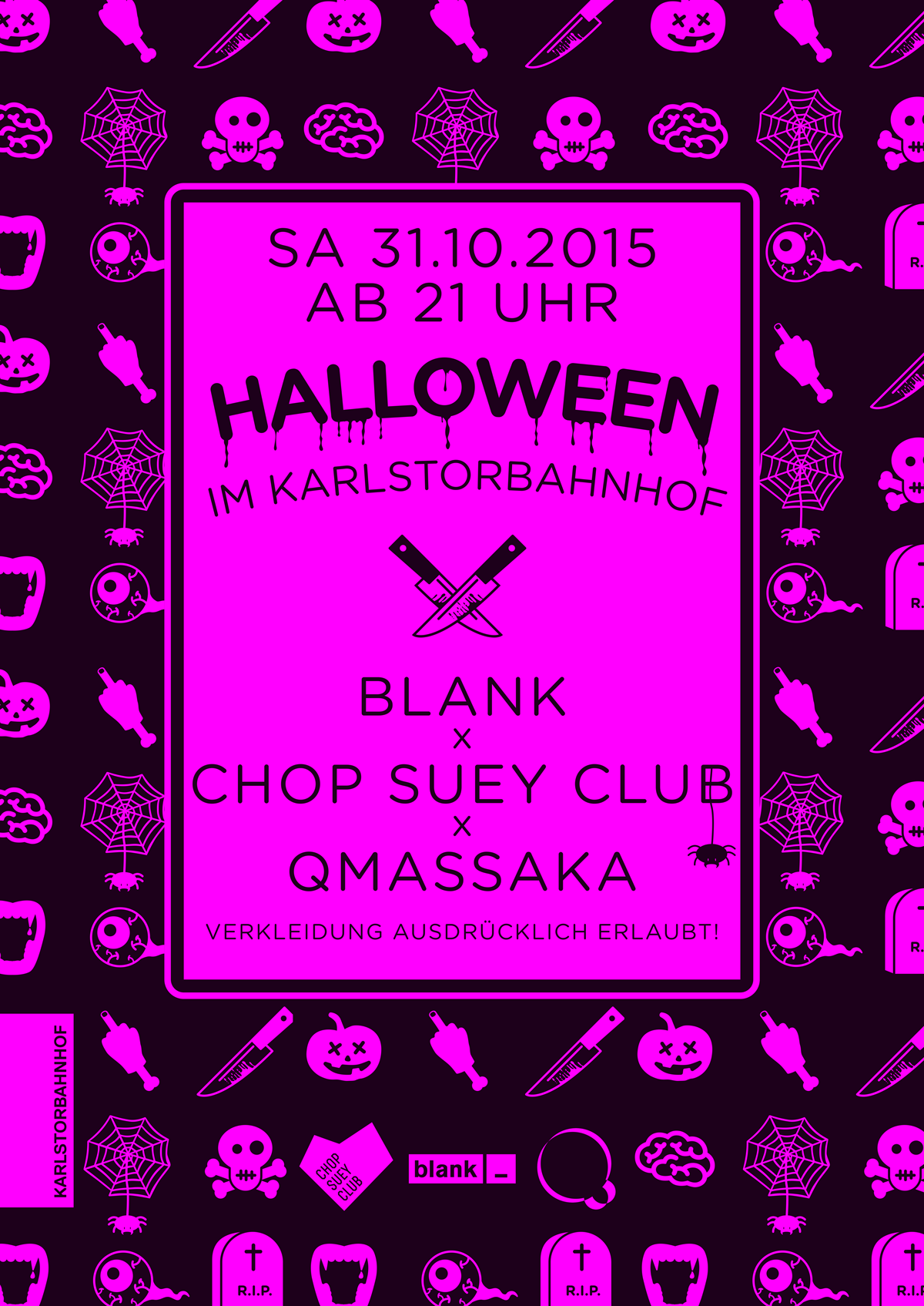 Halloween Party mit QMassaka Blank und Chop Suey Club im Karlstorbahnhof Heidelberg